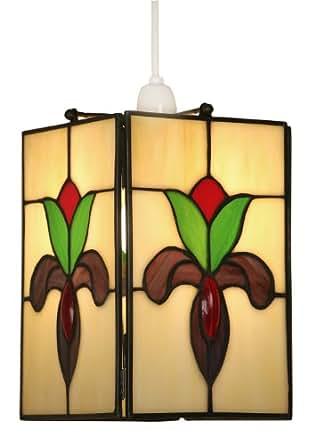 Oaks Lighting Crown Tiffany - Lámpara de techo colgante, diseño de flor