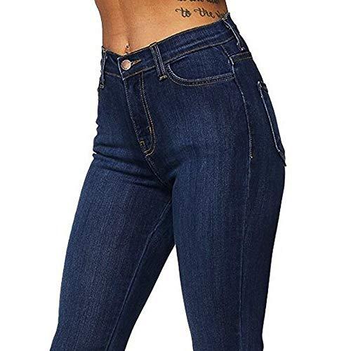 de Mujer de de sólido QinMM Azul de Campana Pantalones Cintura Vaqueros Casual Oscuro Alta Ajustados Jeans wg8wqtp