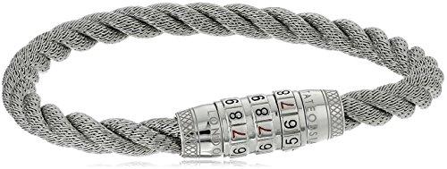 Tateossian Lock 777 Steel Duo Braid Combination Clasp Silver Bracelet, Medium