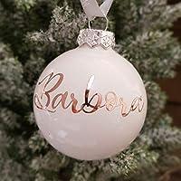 Bola de cristal de adorno de Navidad blanca con texto personalizado de oro rosa