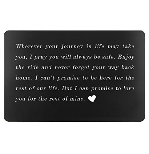 2019 Graduation Gifts for Her or Him, Birthday Gifts for Son or Daughter, Engraved Wallet Insert Love Note, Christmas Gift Present for Men Women (Black, Wherever Journey) (Best Birthday Presents For Her 2019)