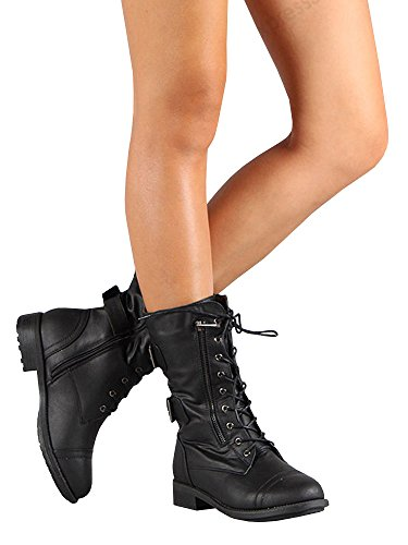 Syktkmx Womens Work Combat Moto Boots Lace Up Buckle Strap Hidden Pocket Mid Calf Ankle Booties