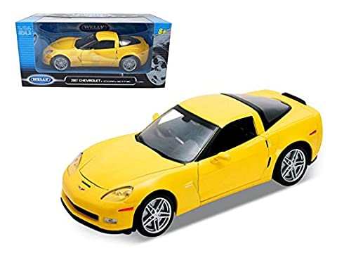 Welly 22504 2007 Chevrolet Corvette C6 Z06 Yellow 1/24 Diecast Car Model (C6 Corvette Toy)