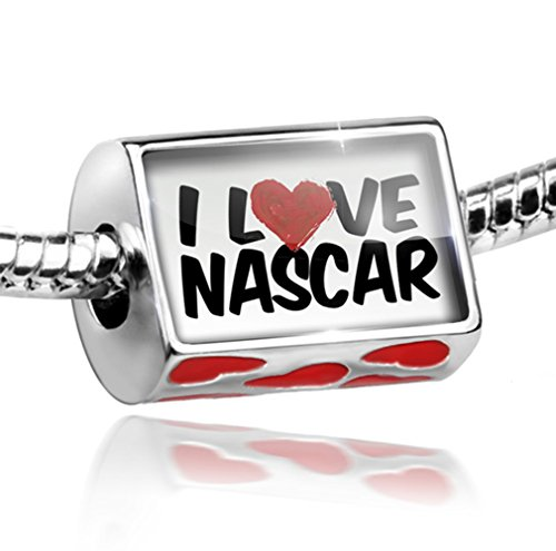 (NEONBLOND Bead with Hearts I Love Nascar - Charm Fit All European Bracelets)