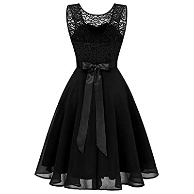 BeryLove Women's Short Floral Lace Bridesmaid Dress A-line Swing Party Dress: Clothing