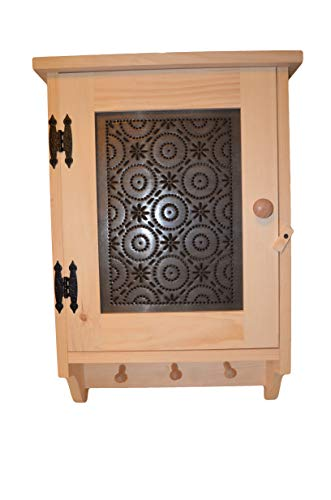 AMISH WARES Bathroom, Hallway, Bedroom, or Kitchen Display Cupboard with 3 Peg Hooks to Hang Towels, or Country Decor Solid Wood Construction with Old Mill Punched Tin ()