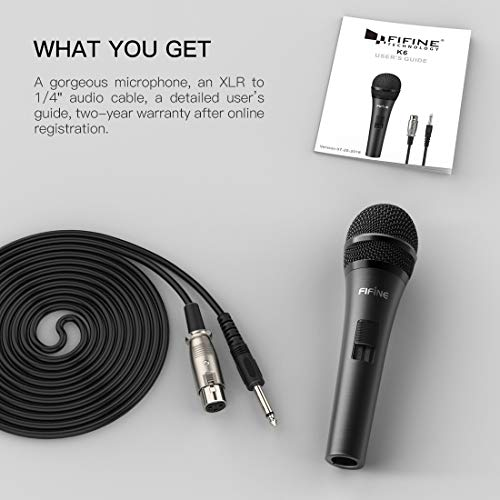 Wired Microphone,Fifine Dynamic Microphone for Speaker Vocal Microphone for Karaoke with On/Off Switch Includes 14.8ft XLR Audio Cable to 1/4'' Audio Connection.(K6)