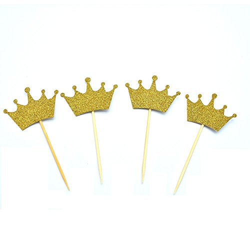 EOPER Set of 40 Gold Crown Cake Topper Vintage Crown Small Gold Wedding Cake Top Princess Cake The Queen of Crowns