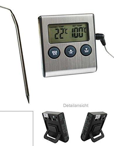 Digital Backofen - Thermometer mit Einstich Fü hler Temperaturbestä ndig bis 250 ° C . Alarm und Timer Funktion und Analog universal Thermometer (SB1117N by TARGARIAN