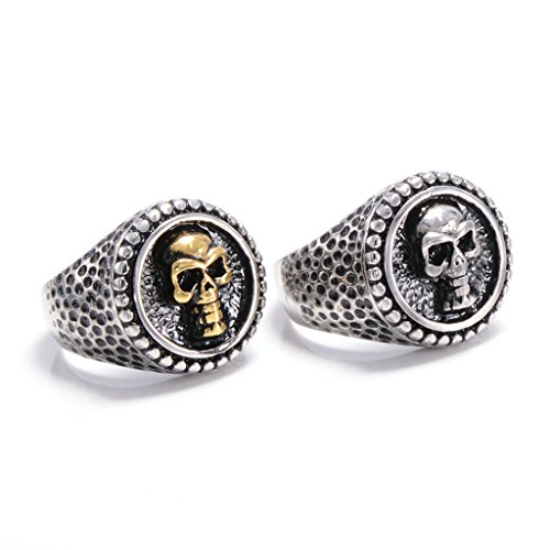 [Men's 316L Stainless Steel Punk Skull Ring Gold Comfort Fit Band Wedding Polished Unique Size 8] (Punk Costume Nz)