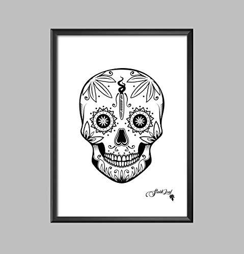 - Cannabis Sugar Skull Screen Printed Poster - Weed Poster - Marijuana Wall Hanging