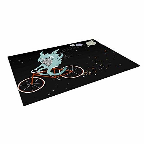 (Kess InHouse Anya Volk Bunny in Space Red Fantasy Outdoor Floor Mat, 4' x 5')