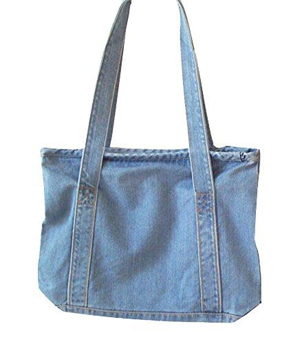 Denim Purse Blue Jean - Ecokaki(TM) Fashion Women Denim Retro Bag Shoulder Bags Tote Messenger Bag, Sky Blue