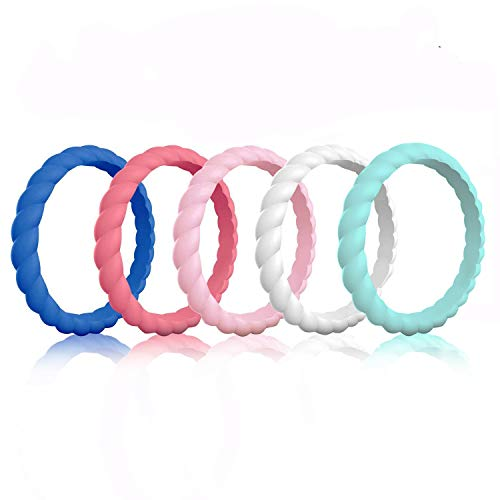 COOLOO Silicone Wedding Ring for Women, [5 Packs] Thin Stackable Braided Rubber Wedding Bands, Antibacterial Comfortable Durable, Affordable Fashion Elegant, Skin Safe
