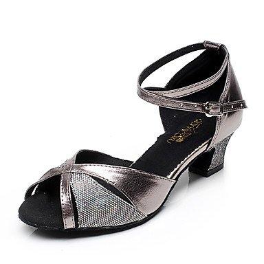 XIAMUO Nicht anpassbar - Die Frauen tanzen Schuhe Leder Leder Latin/Moderne Turnschuhe Ferse Praxis, Grau, US 8 / EU 39/UK6/CN 39