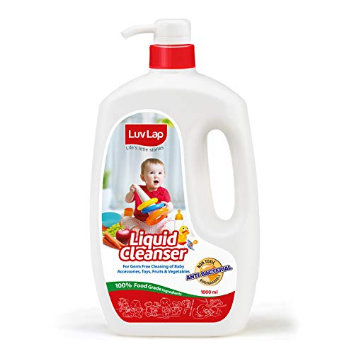 LuvLap Liquid Cleanser, Anti-Bacterial, Food Grade, For Baby Bottles, Accessories and Vegetables, 1000ml