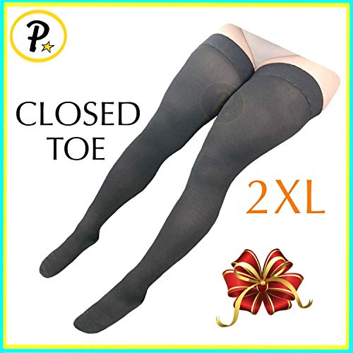 Presadee Thigh High Leg Full Length 20-30 mmHg Graduated Compression Grade Stocking Swelling Fatigue Edema Varicose Veins Support Socks Closed Toe (Black, 2XL)