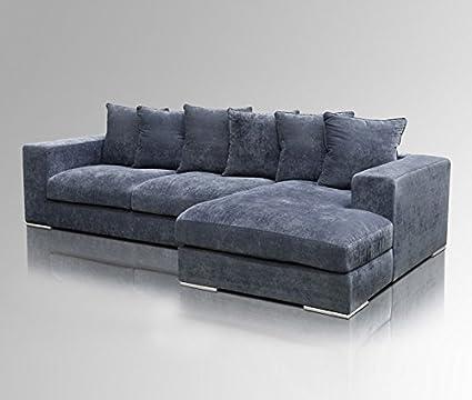 Turbo Amaris Elements | 'Moore' Ecksofa Länge 295cm | Couch Samt blau ME23