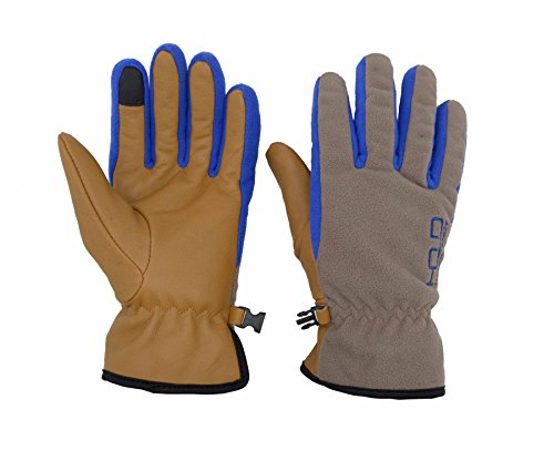 Winter Work Gloves for Men Touch Screen 40g Thinsulate Genuine Goatskin Palm Water Repellent Soft Warm Thermal Gloves 0-10°F Cold Proof for Men Women Kids (Mediun, Light grey-Brown)