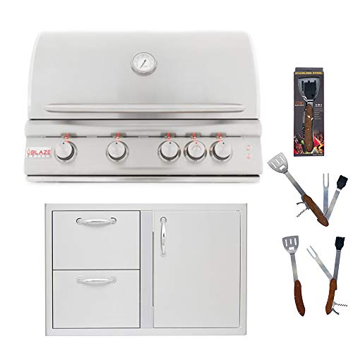 Blaze 32-Inch 4 Burner LTE Natural Gas Grill and Blaze 32-Inch Access Door & Double Drawer Combo with 5 in 1 BBQ Tool Set Best of Backyard Package Deal