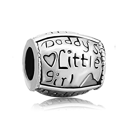QueenCharms Silver Plated Bead Daddy's Little Girl Family Love Charm for Bracelet