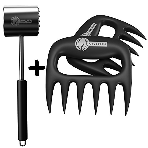 Tenderizer Mallet + Pulled Pork Shredder Claws - STRONGEST BBQ MEAT FORKS - Shredding Handling & Carving Food - Claw Handler Set for Pulling Brisket from Grill Smoker or Slow Cooker - Barbecue Paws