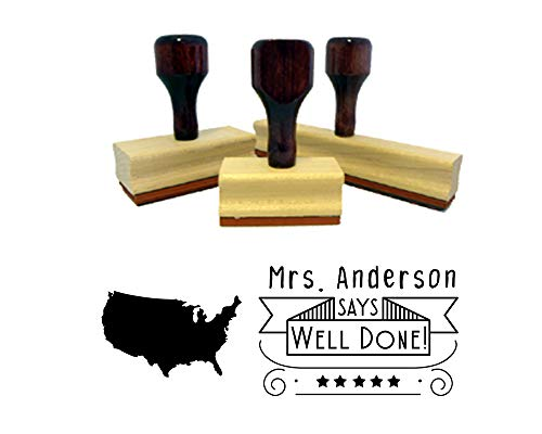 - Teacher Rubber Stamp, Wooden Handle Custom Well Done Classroom Stamper with United States Map, USA Image. Size Approx. 1
