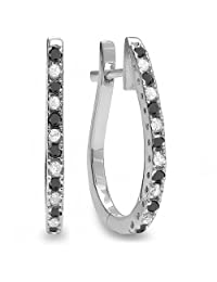 14K White Gold Ladies Hoop Earrings