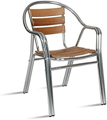AC014 Silla aluminio y madera apilable con brazos para jardín, terraza, balcón, terrado, exterior, hostelería. 1 unidad: Amazon.es: Hogar