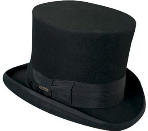 Victorian Classico Scala Mad Hatter 100% Wool Top Hat Black LARGE by Scala