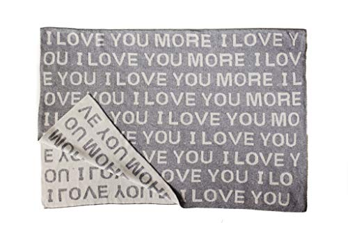 I Love You More Luxury Baby Blanket | Valentine's Day Gift for Baby or Toddler | Baby Stroller Blanket |100% Soft Knit Cotton