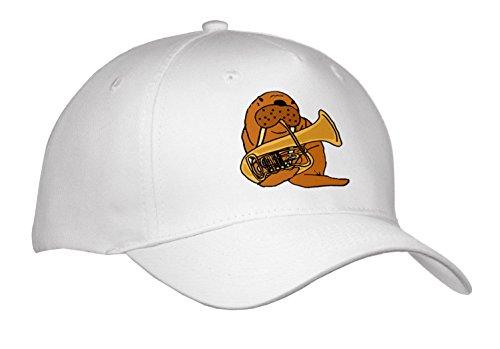 Playing Tuba - All Smiles Art Music - Funny Cute Walrus Playing Tuba Cartoon - Caps - Adult Baseball Cap (Cap_256405_1)
