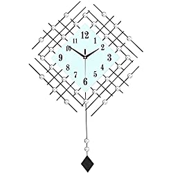Wall Clocks Metallic Square Mute Silent Clocks and Watches Diamond Pendulum Clock Modern Suitable for Living Room&Bedroom Large Size 73 48 cm (Color : Black)