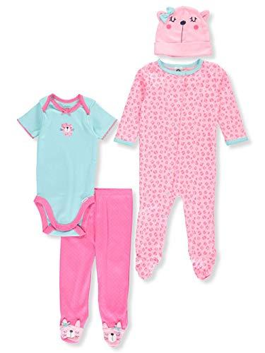 Gerber Baby 4 Piece Sleep 'n Play, Onesies, Footed Pant and Cap Set, leopard, 0-3 Months