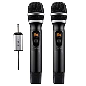 Hotec 25 Channel UHF Wireless Microphone Dual Microphone with Mini Portable Receiver 1/4″ Output, for Church/Home/Karaoke/Business Meeting (Dual mic)