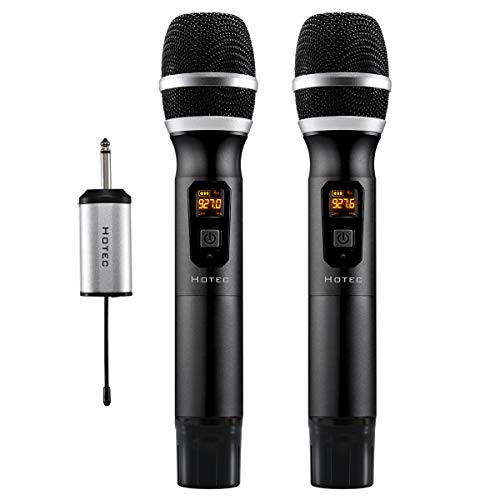 Hotec 25 Channel UHF Wireless Microphone Dual Microphone with Mini Portable Receiver 1/4