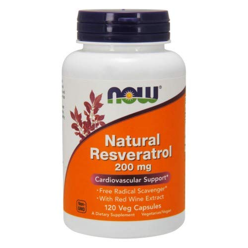NOW Foods by Now Natural Resveratrol Cardiovascular Support 200 mg- 120 Veg Caps