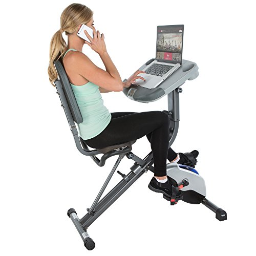 Exerpeutic WorkFit 1000 Fully Adjustable Desk Folding Exercise Bike with Pulse