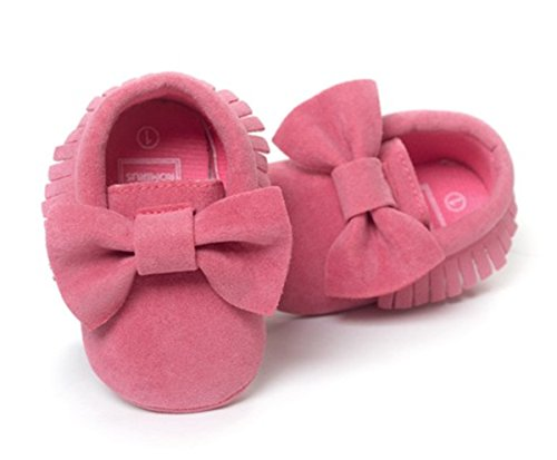 BININBOX Baby Boys Girls First Walkers Tassel Soft Anti-Slip Crib Shoes Sandal Unisex Infant Prewalker Toddler (11cm(0-6months), Watermelon red)