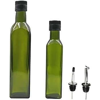 Genial 2 Olive Oil Dispenser 17 OZ And 9 OZ Dark Green Kitchen Olive Oil Bottles  With