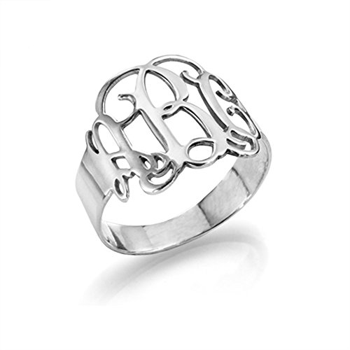 Sterling Silver Monogram Ring - Custom Made with Any Initial! (7.5) Custom Made Silver Ring