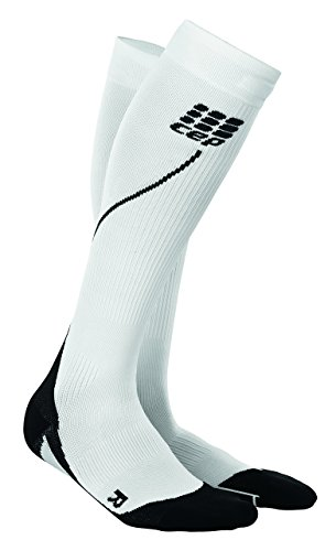 CEP Women's Progressive+ Compression Run Socks 2.0, Size 2 (Calf 9.5-12-Inch), White/Black
