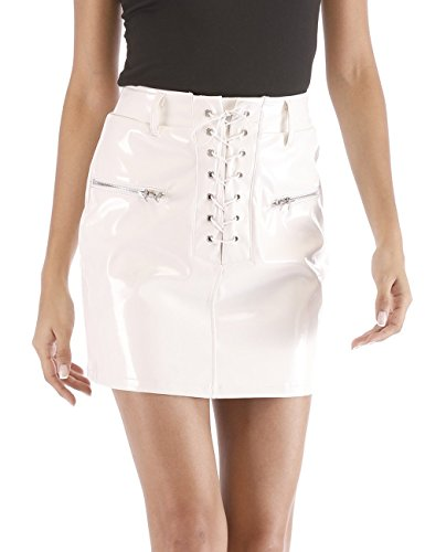 (Agmibrelr Women's Lace-up High Waisted Faux Leather Bodycon Mini Skirts with Pockets White S)