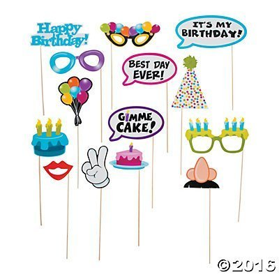 Happy Birthday Photo Stick Props - 14 pcs ()