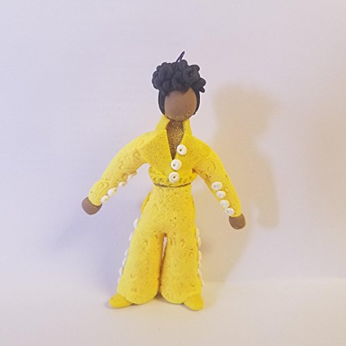 - PRINCE Gett Off CHRISTMAS ORNAMENT Yellow Open Back PAnt Suit Clay OOAK