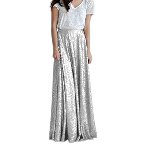 Women's A Line Prom Long Skirt Sequin Skirt Formal Size 22 Silver