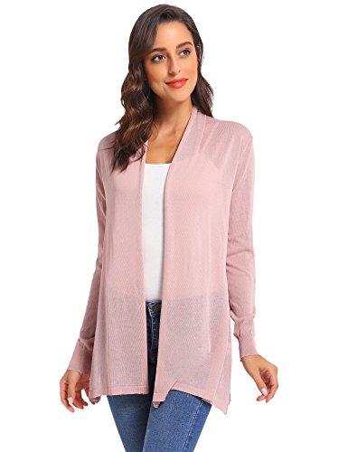 Manga larga Lotus punto con Cardigan mujer de 2 Pink Elegante de de Abierto Outwear Vintage bolsillos lino Chaqueta Chaleco qTvw1nxP