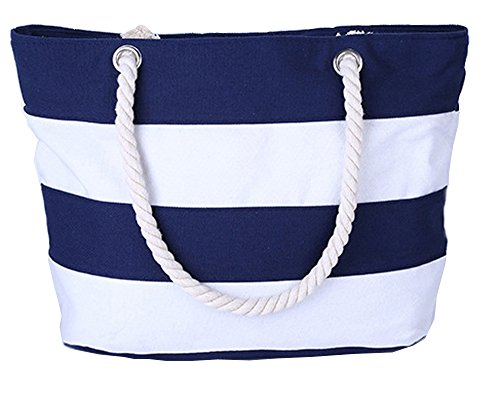 Pulama Womens Large Beach Tote Canvas Shoulder Bag Wave Striped Anchor Summer Handbag Top Handle Bag Straw Beach Bag Navy Blue Strip by Pulama