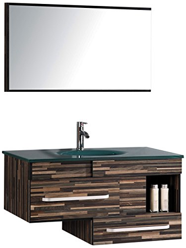 Legion Furniture WTH9032 Sink Vanity With Mirror and Without Faucet, Black Wood Pattern - Mirror included Tempered glass top Tempered glass sink - bathroom-vanities, bathroom-fixtures-hardware, bathroom - 41Z4ohQRuHL -