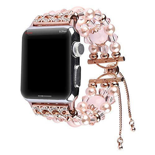 Juzzhou Band For Apple Watch iWatch Series 1 2 3 4 Woman Lady Bracelet Beaded Faux Pearl Bling Stone Crystal Jewels Wrist Strap Wristband Wriststrap With Adapter Adjustable Clasp Buckle - Jewel Clasp
